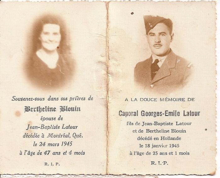 cartes mortuaires Georges-Émile Latour et sa mère
