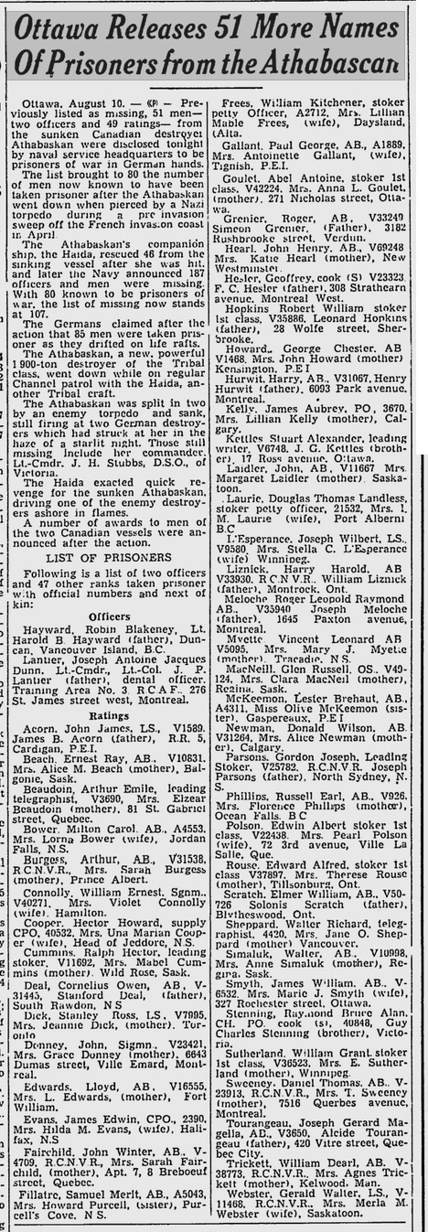 Gazette 11 August 1944 Athabaskan prisoners list