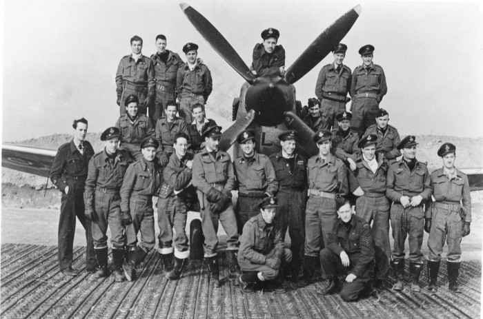 Pilots at B-90 Petit-Brogel, Belgium Mar. 45.